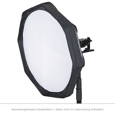 MobiFlash Faltbarer Beauty Dish Softbox silber 60cm + Wabe + Systemblitzhalter