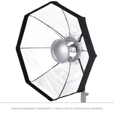 MobiFlash Faltbarer Beauty Dish Softbox weiß 60cm + Wabe + Systemblitzhalter